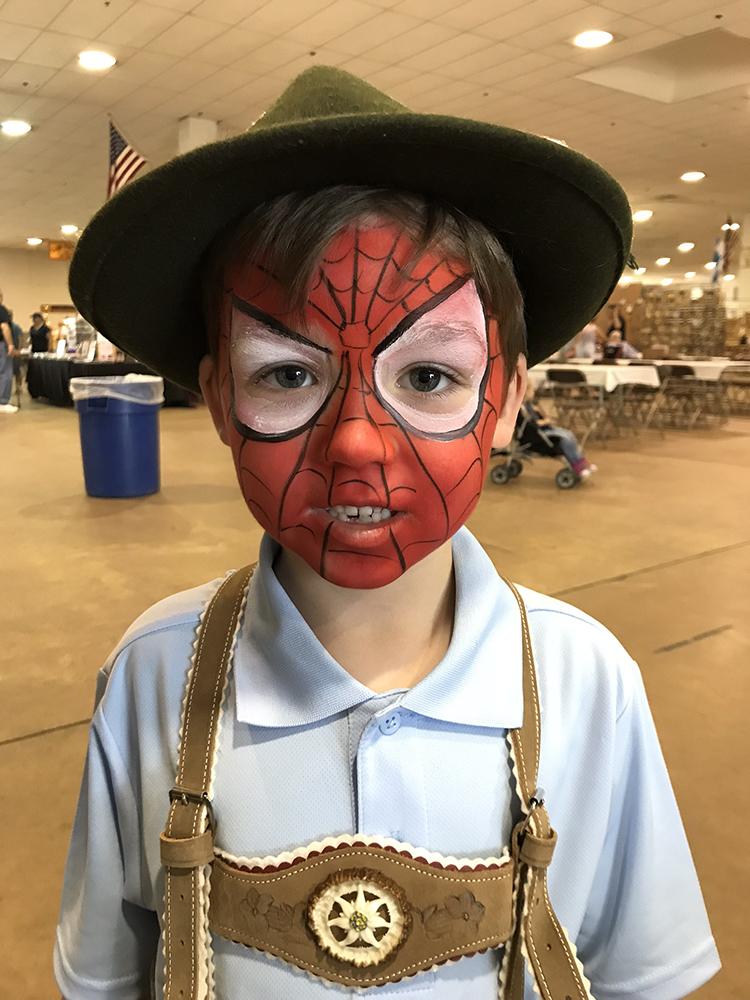 German boy painted as Spiderman